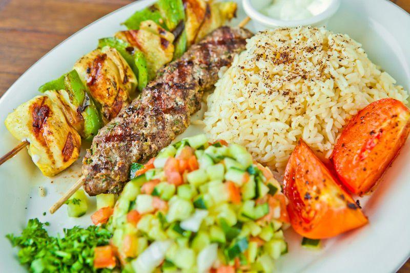 Chicken Kabob & Kofta Kabob Plate with Rice & Mediterranean Salad