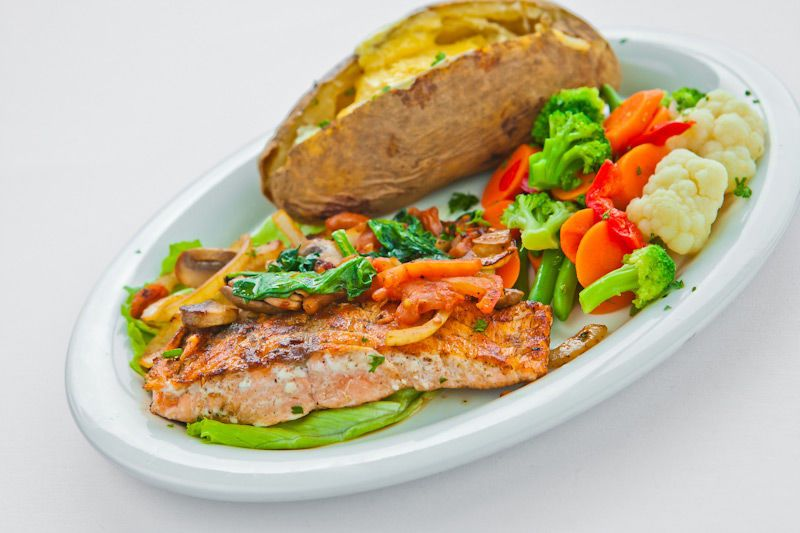 Grilled Salmon Platter with Baked Potato & Mixed Veggies