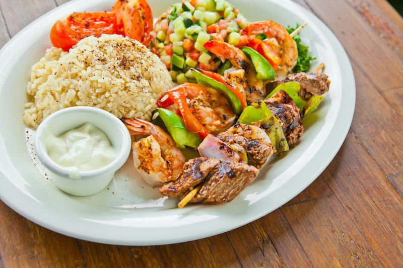 Shrimp Kabob & Beef Kabob Plate with Garlic Sauce, Rice & Mediterranean Salad