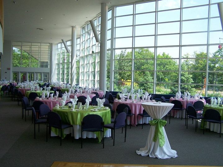 The Rozsa Center's lobby can seat up to 250 for dinner or up to 500 with a standing reception....