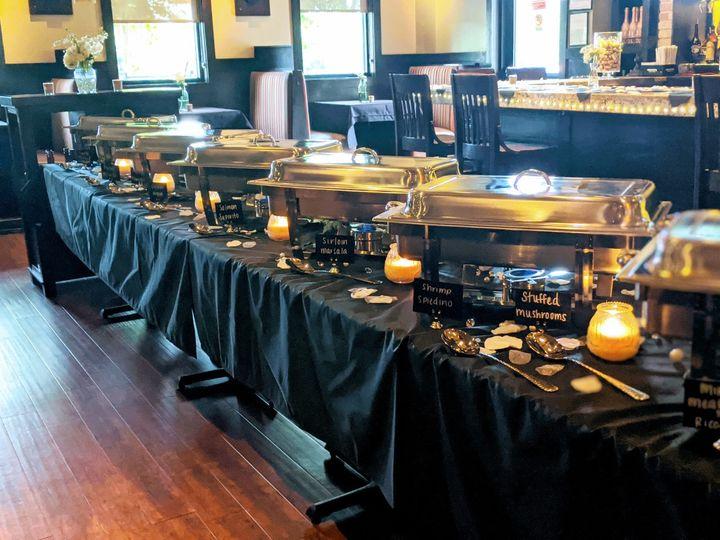 Food set up for wedding tasting
