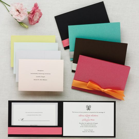 Stylish Wrap Invitation - Sleek and stylish, this all-inclusive pocket-style wedding invitation is...