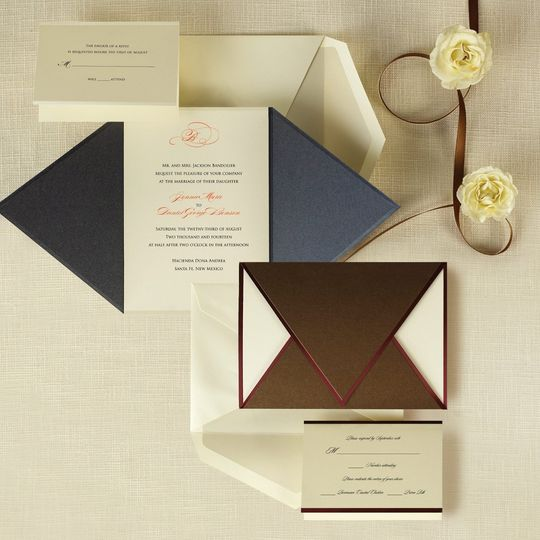 Wrapped in Love - The rich metallic folder of this bold invitation set wraps around the ensemble...