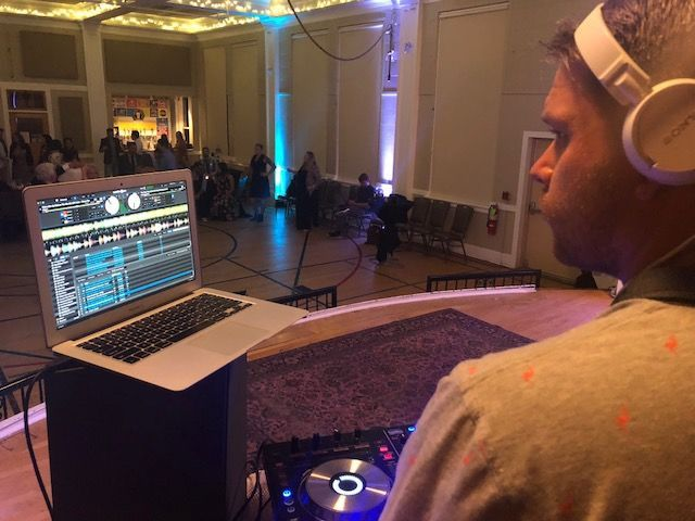Blake mixing the music for the Muso Wedding
