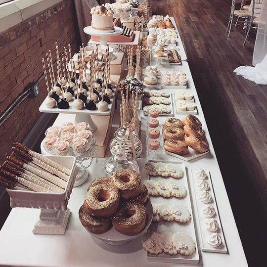 Blush & gold wedding dessert table