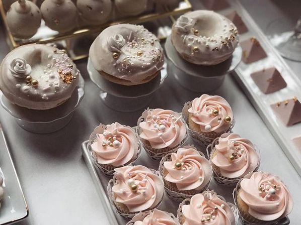Custom glazed doughnuts and mini cupcakes