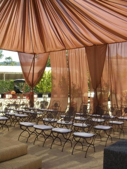 Sheer fabric and tent draping, carpeting, and chairs at Nickel & Nickel Winery. Courtesy of Nickel &...
