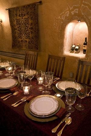 Linen, stemware, chargers, china, and flatware in the cave at Benziger Family Winery. Courtesy of...