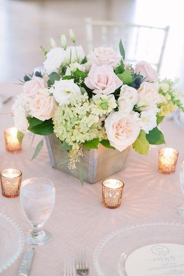 Hydrangea, blush and white roses, Pink Mercury Vases on Rose Quartz sparkly linen