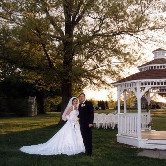 Couple in front of gazebo