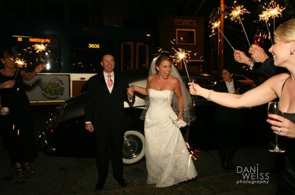 Bride and Groom arrive to their reception at Crush Restaurant in Seattle.