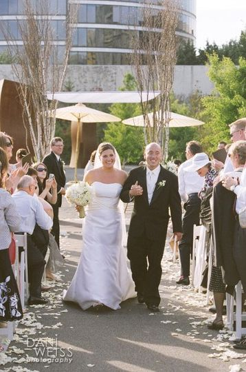 Couple exits their Ceremony at Seattle Sculpture Park.