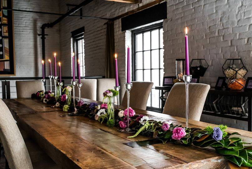 Long table and floral decor