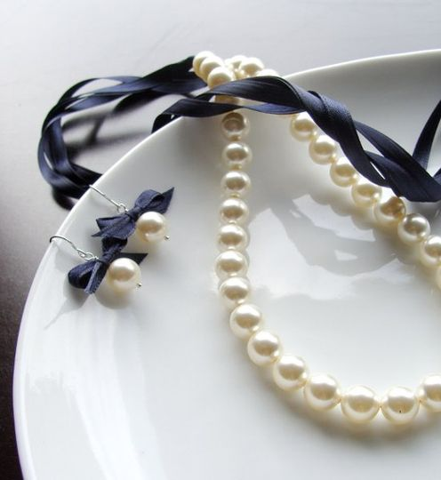 Ribbon and Pearl Necklace $42.00  This beautiful Ribbon and Pearl necklace is made with love and for...