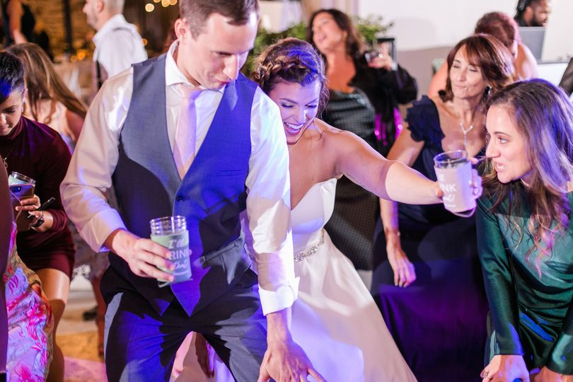 Fun at the wedding dance party
