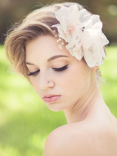 Bride with flower hair ornament