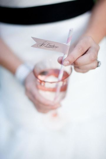 The bride holding her cocktail