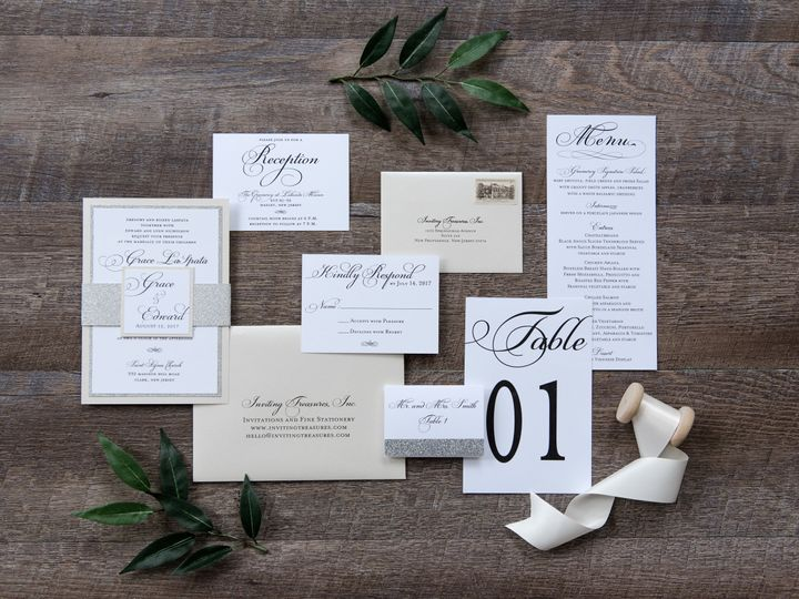 Tmx Cream And Silver Glitter Wedding Invitation Suite 51 929197 New Providence, NJ wedding invitation