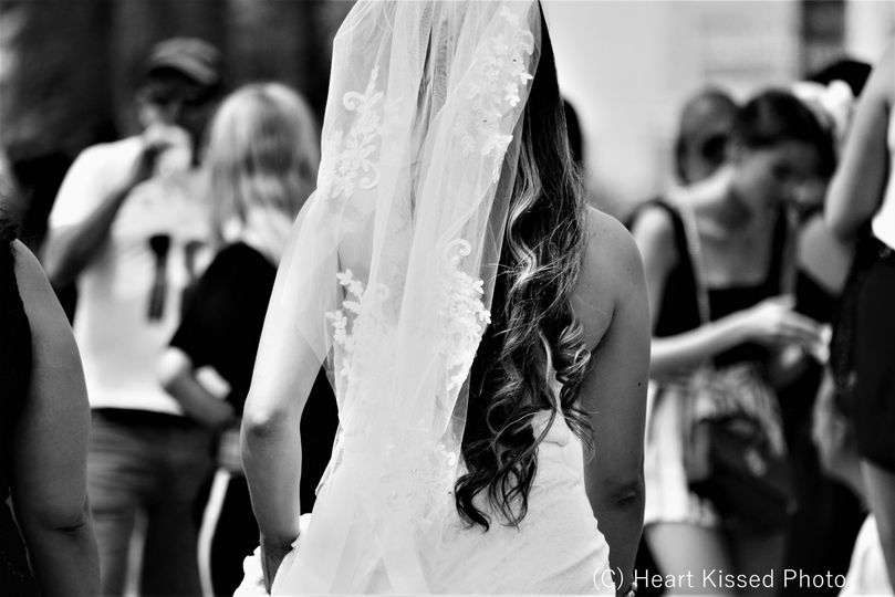 Bride in a crowd on the strip