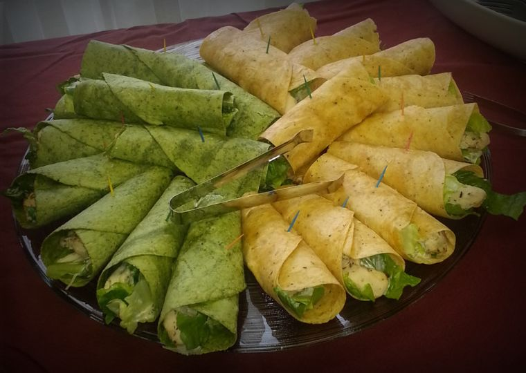 Chicken Caesar wraps in Spinach and Sun-Dried Tomato tortilla shells
