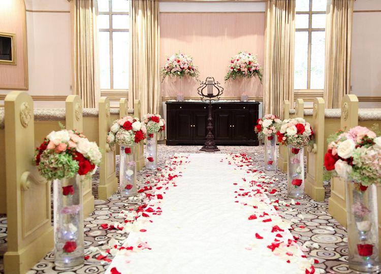 Floral wedding aisle