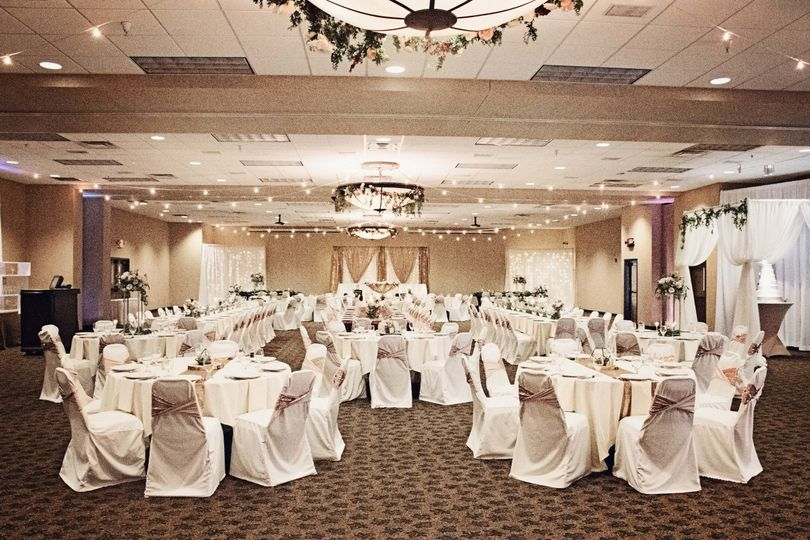 Sample Ballroom Setup and Decor by 6 South Designs and Florals by Flower Cart Creations ©...