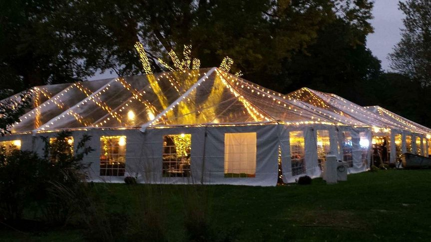 40x60 clear top tent w dixie lights and window sid