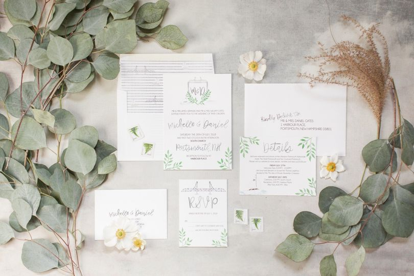 Nautical watercolor invites
