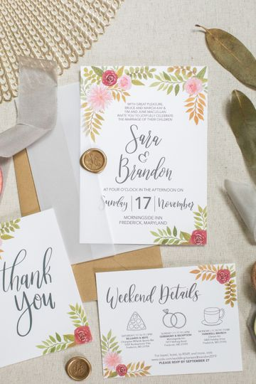 Fall floral wedding invites
