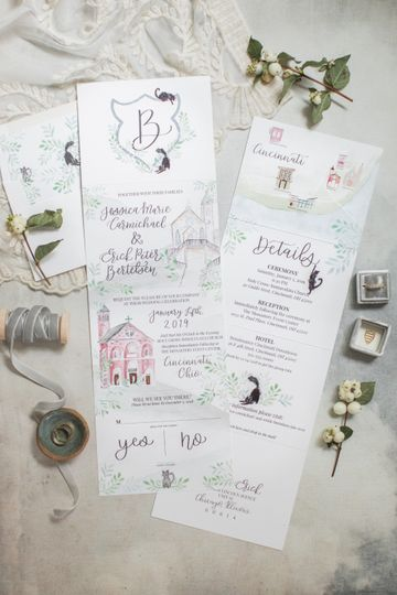 Romantic folded invitations