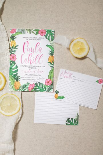 Tropical wedding shower invite