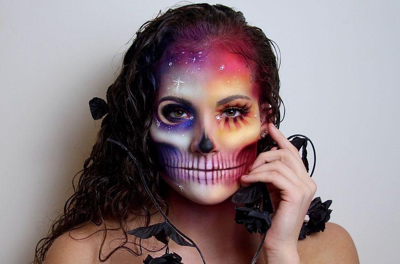 Multicolored galaxy skull