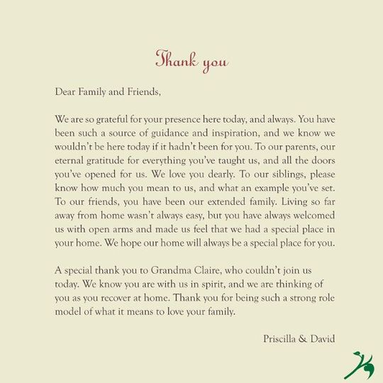 The next page is your Thank You Note to your family and friends ... and the remainder of the booklet...