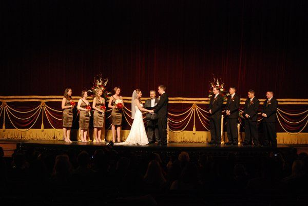 Full Wedding party on the Orchestra Pit of the stage with Hippodrome Curtain as backdrop. February...