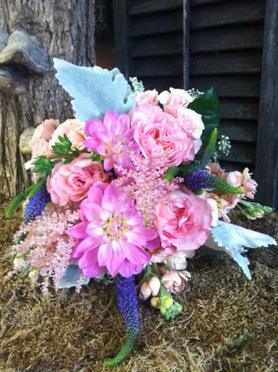 Summer garden flowers accented with gray Dusty Miller