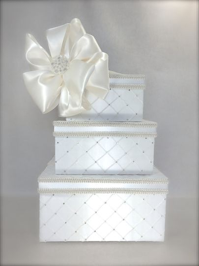Price: $145.  This three tier wedding card box is upholstered in ivory or white taffeta pintuck...