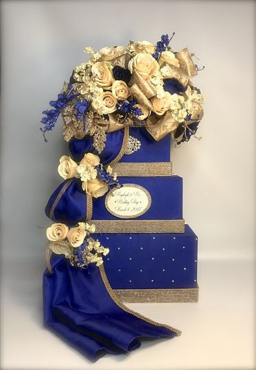 """Bottom tier is 12"""" square  Card box will hold over 175 cards. The whole box is hollowed out in the..."""