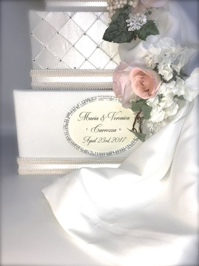 $132  This three tier wedding card box is upholstered in platinum shantung fabric. The middle tier...