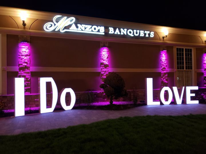 """I Do"" & ""Love"" Signs on Patio"