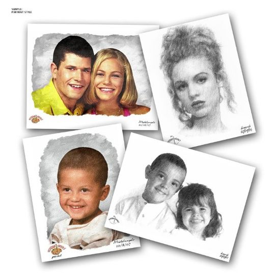 """THIS IS AN 8 1/2"""" x 11"""" PORTRAIT PICTURE PRINTED IN EITHER PASTEL, PENCIL, CHARCOAL OR OIL STYLE"""