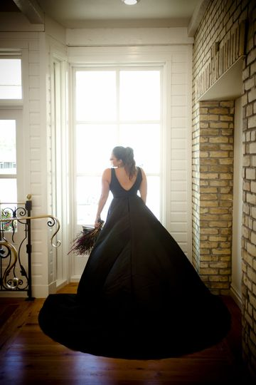 The bride in her black gown
