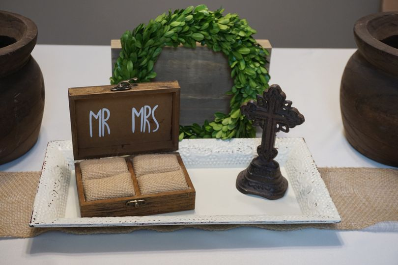 Ring box, wreath, and cross