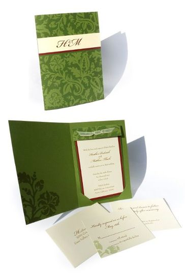 This traditional wedding invitation was inspired by the bridal shower invitation (please see Olive &...