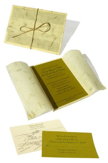 This environmentally conscious couple requested recycled paper. Their wedding took place in a...