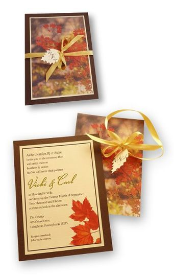 The bride requested a fall theme for this invitation. I chose to use a cut out of a leaf for the...