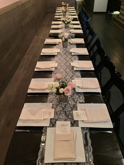 17 ph glass rehearsal dinner long table set for 30 51 1036397