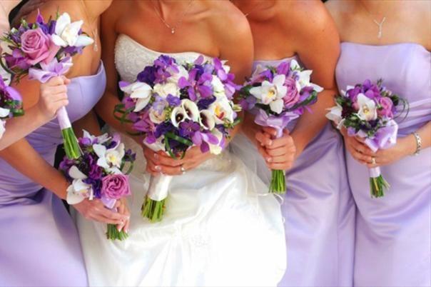 3fea18cc446ddc24 Bride and maids in purple