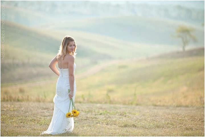 A bride and her sunflowers
