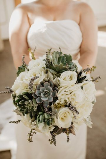 Succulents and white roses