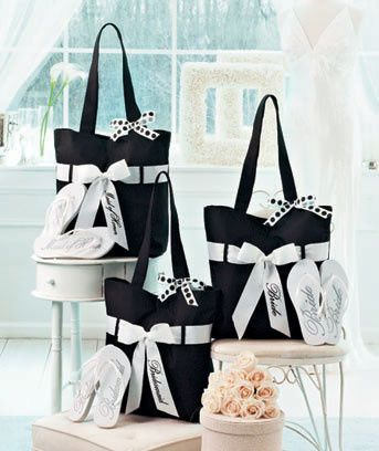 wedding tote and flip flops